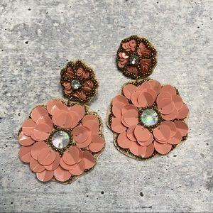 NEW Panacea Blush Sequin Statement Flower Earrings